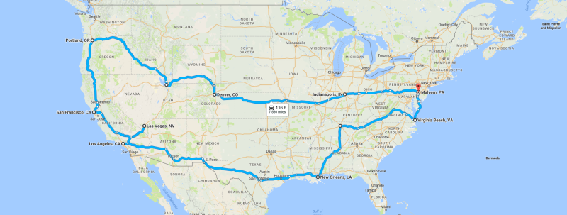 Map of Mustang Roadtrip